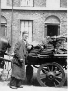 Tommy Yates with his coal cart